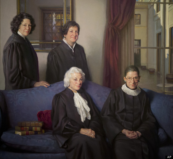 """A detail of Artist Nelson Shanks' painting, """"The Four Justices"""", a 9-foot 6-inch by 7-foot 9-inch oil on canvas portrait of the first four female justices of the U.S. Supreme Court, top row, from left, Sonia Sotomayor and Elena Kagan, bottom row, from left, Sandra Day O'Connor, and Ruth Bader Ginsburg, is seen during a press preview at the Smithsonian's National Portrait Gallery in Washington, Monday, Oct. 28, 2013. (AP Photo/Manuel Balce Ceneta)"""